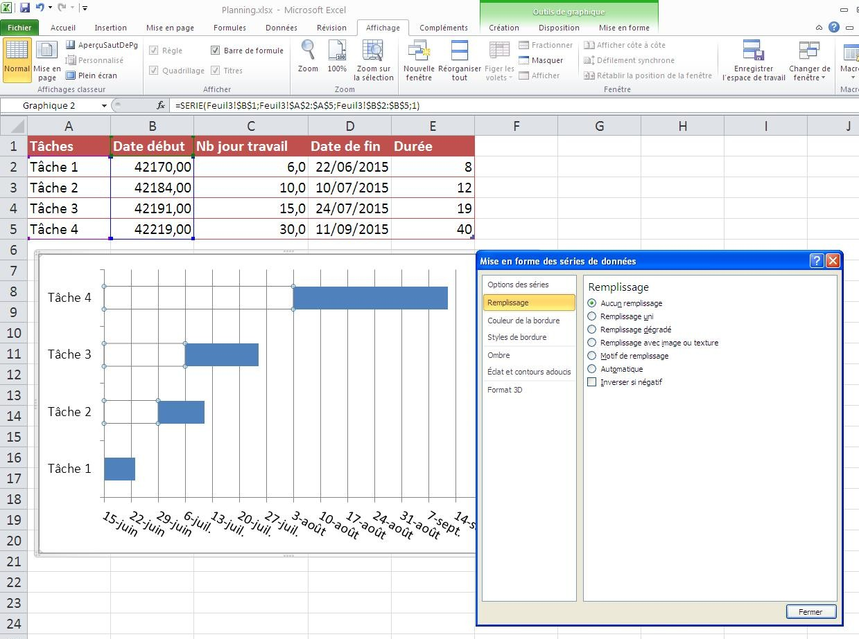 diagramme de gantt avec excel. Black Bedroom Furniture Sets. Home Design Ideas
